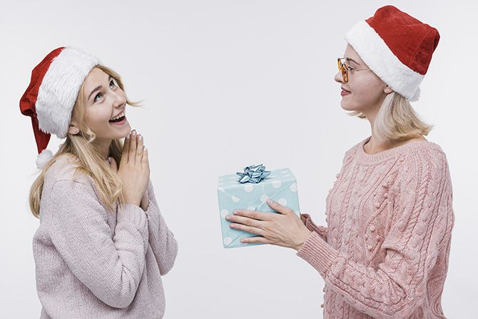 Christians Exchanging Gifts On Christmas